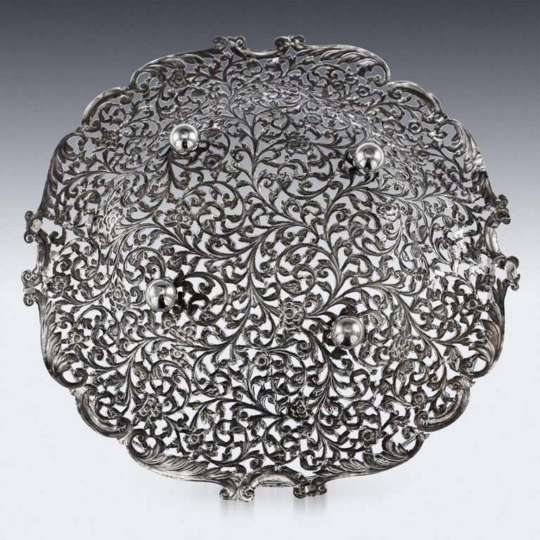 19th Century Indian Cutch Solid Silver Basket, circa 1880 In Good Condition For Sale In London, London