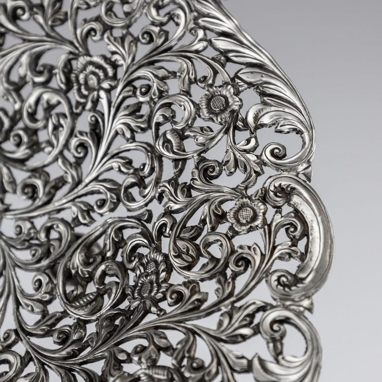 19th Century Indian Cutch Solid Silver Basket, circa 1880 For Sale 5