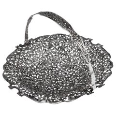 19th Century Indian Cutch Solid Silver Basket, circa 1880