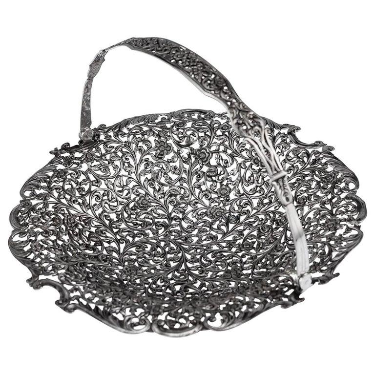 19th Century Indian Cutch Solid Silver Basket, circa 1880 For Sale