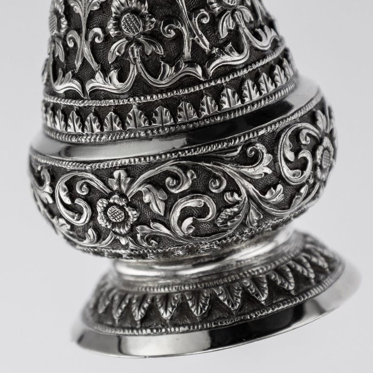 19th Century Indian Cutch Solid Silver Condiment Set, Oomersi Mawji, circa 1890 For Sale 7