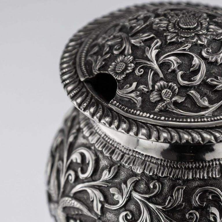 19th Century Indian Cutch Solid Silver Condiment Set, Oomersi Mawji, circa 1890 For Sale 13