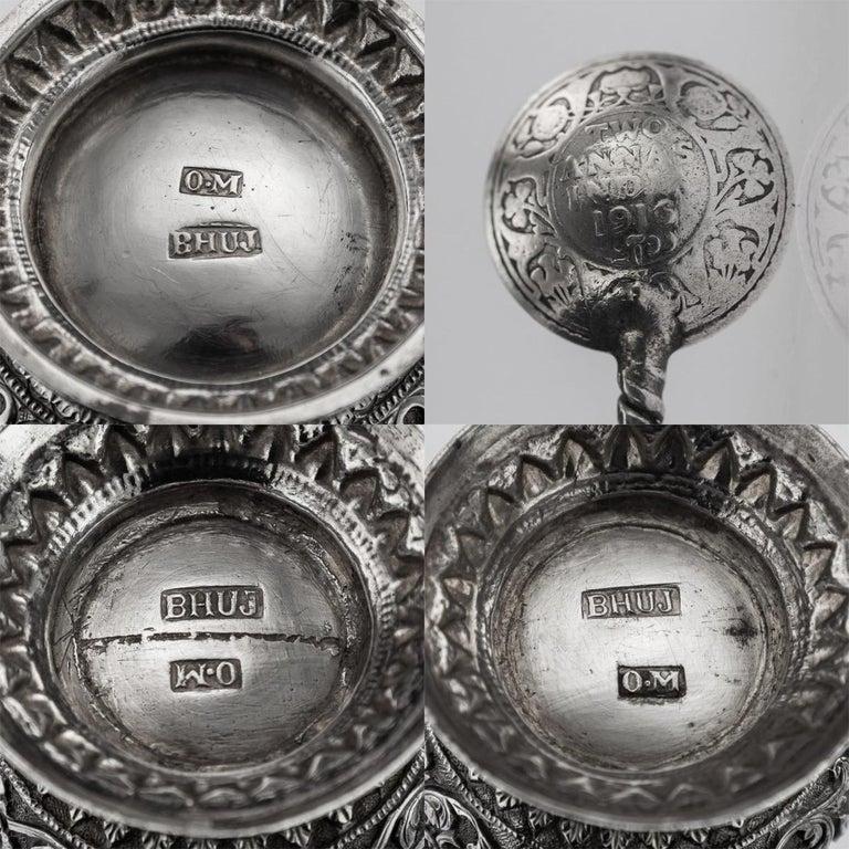 19th Century Indian Cutch Solid Silver Condiment Set, Oomersi Mawji, circa 1890 For Sale 17