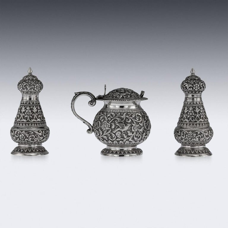 19th Century Indian Cutch Solid Silver Condiment Set, Oomersi Mawji, circa 1890 For Sale 1