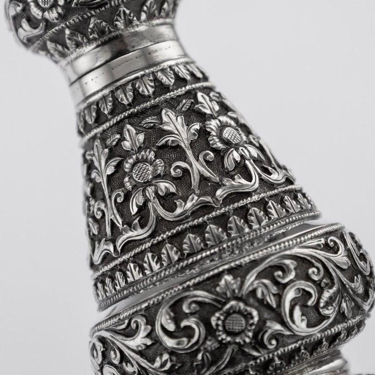 19th Century Indian Cutch Solid Silver Condiment Set, Oomersi Mawji, circa 1890 For Sale 6