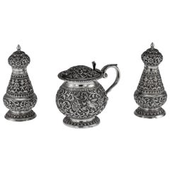 19th Century Indian Cutch Solid Silver Condiment Set, Oomersi Mawji, circa 1890