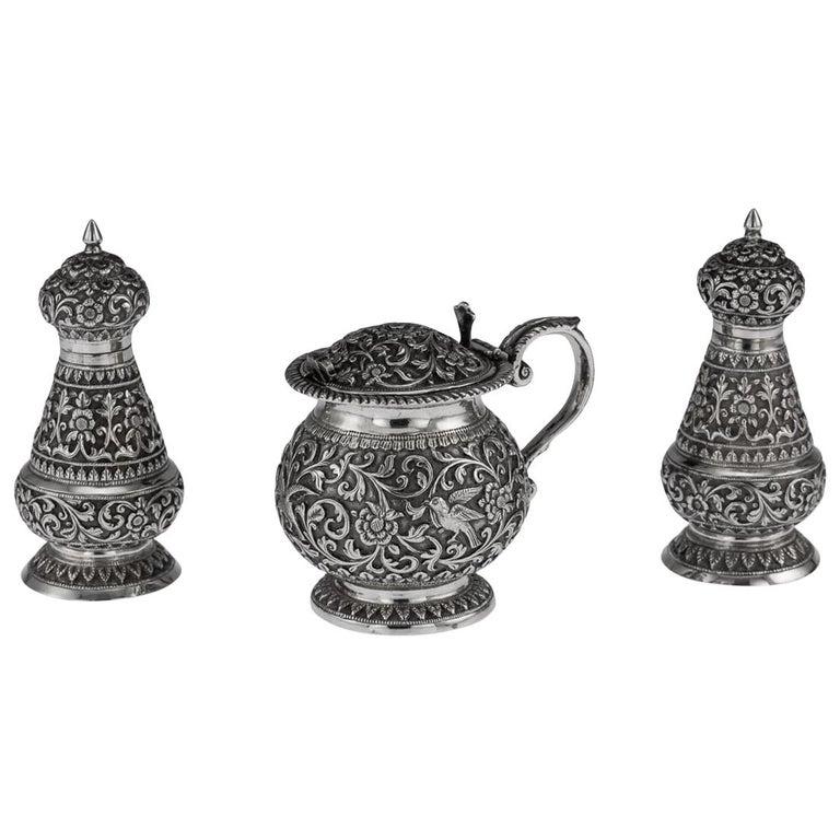19th Century Indian Cutch Solid Silver Condiment Set, Oomersi Mawji, circa 1890 For Sale