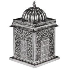 Indian Solid Silver Temple Shaped Tea Caddy, Oomersi Mawji, circa 1880
