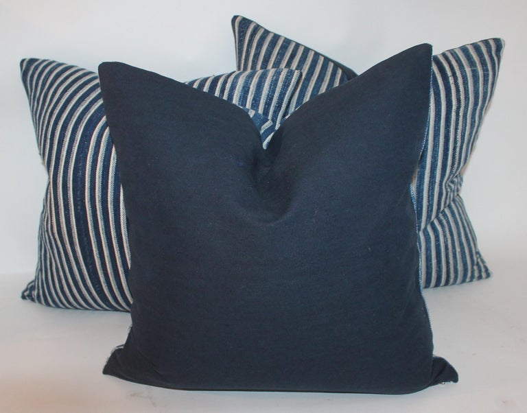 Country Indigo Blue and White Striped Linen Pillows For Sale