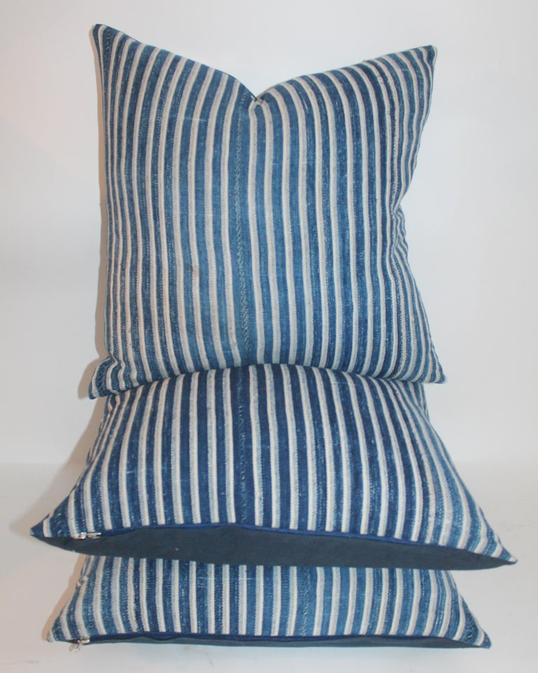 American Indigo Blue and White Striped Linen Pillows For Sale