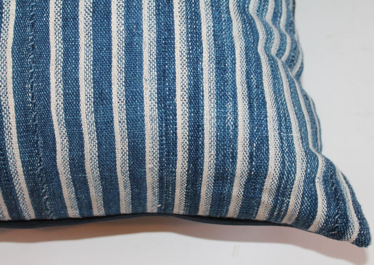 Hand-Crafted Indigo Blue and White Striped Linen Pillows For Sale