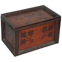 19th Century Inlaid Gaming Pieces Box with Slide Top