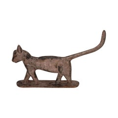 19th Century Iron Cat Door Stop in Original Paint