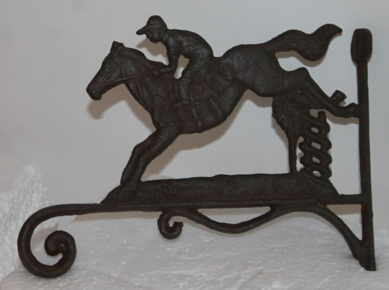 Adirondack 19th Century Iron Horse and Rider Wall Mount For Sale
