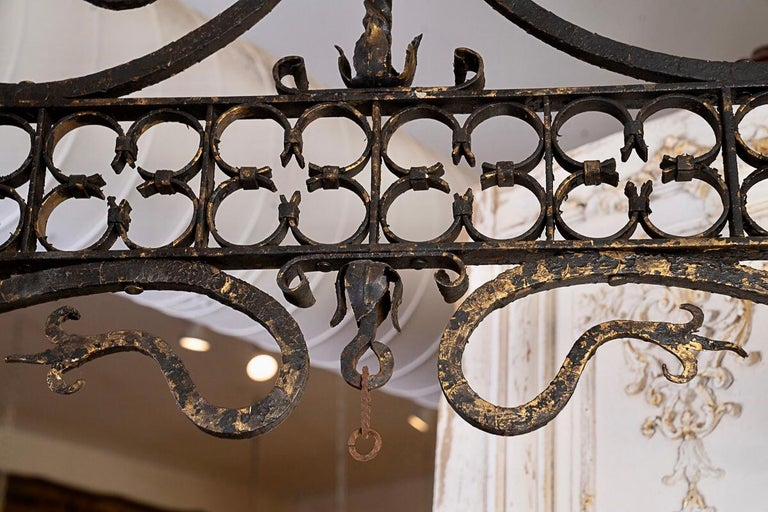 19thc Oblong iron chandelier-perfect over a kitchen island. The height is adjustable and it has the original chain.