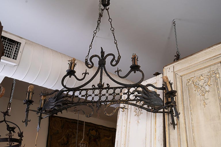 19th Century 19thc Iron Oblong Chandelier For Sale
