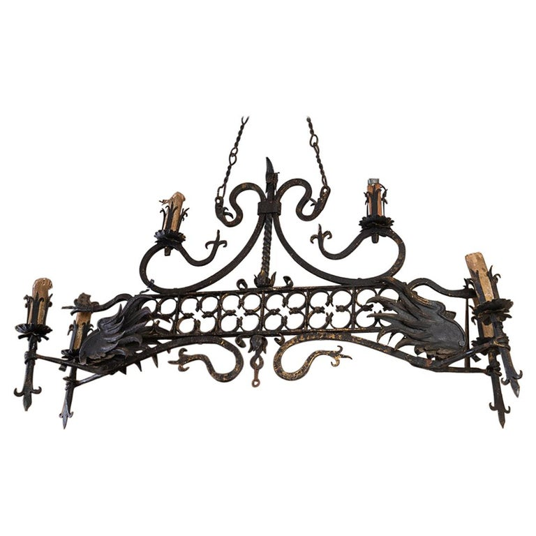 19thc Iron Oblong Chandelier For Sale