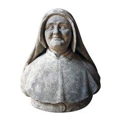 19th Century Italian Carved Marble Bust of a Nun