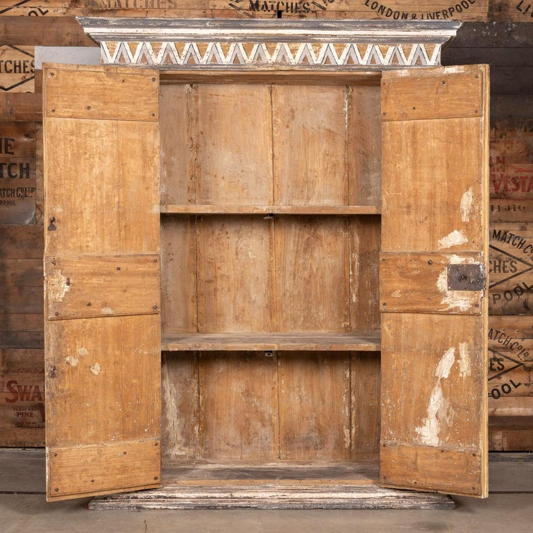 19th Century Italian Hand Painted Pine Cabinet, circa 1800 In Fair Condition In London, London