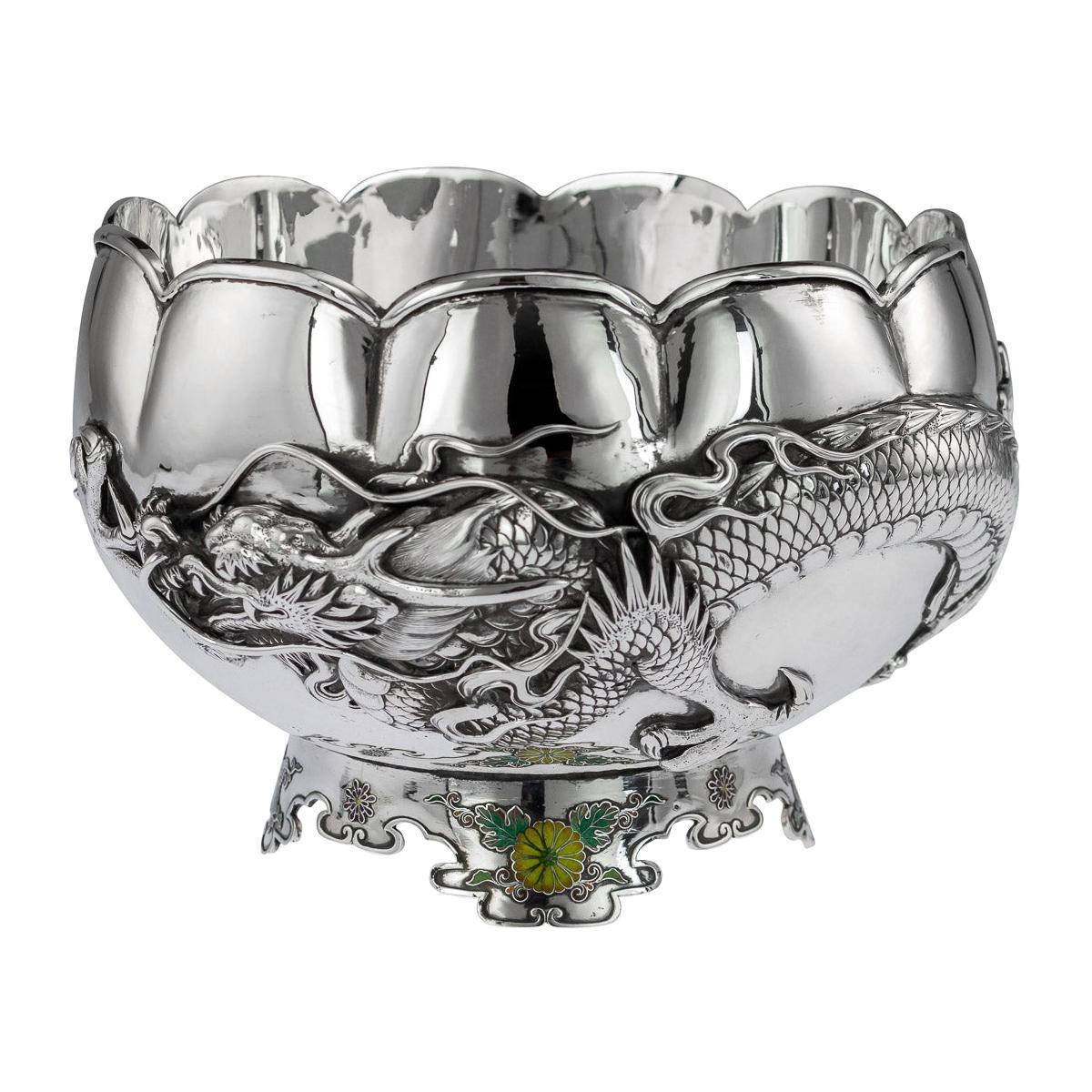 19thc Japanese Meiji Period Solid Silver & Enamel Dragon Bowl, C.1890