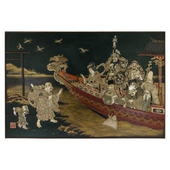 19th Century Japanese Monumental Shibayama & Lacquer Wall Plaque, circa 1890