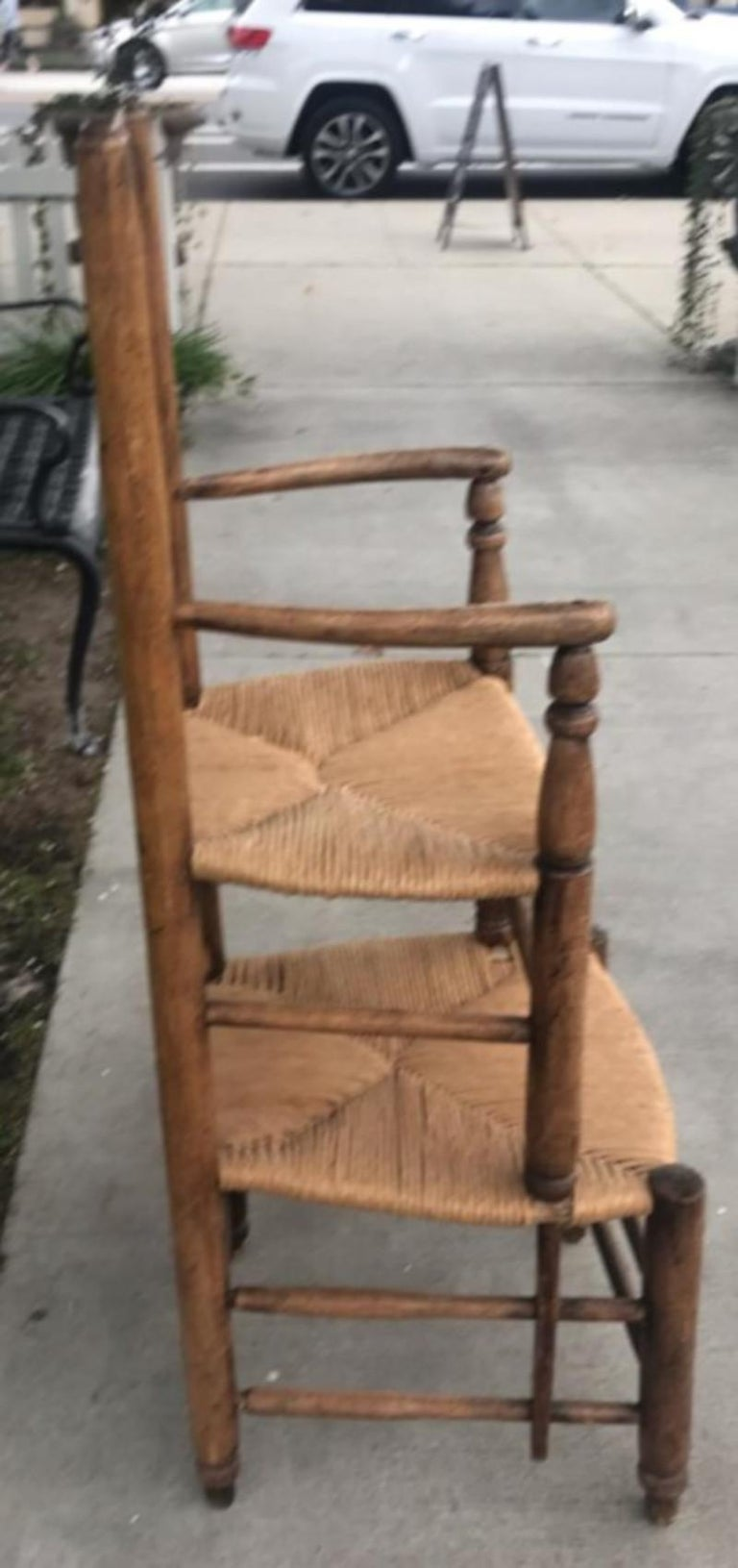 Adirondack 19th Century Ladder Back Tall Chair with Rush Seats For Sale