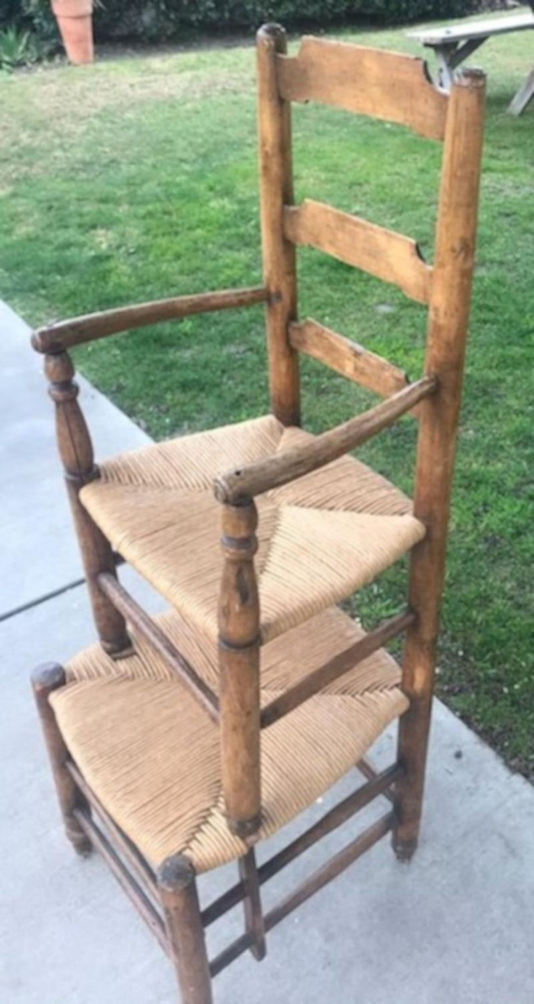 English 19th Century Ladder Back Tall Chair with Rush Seats For Sale