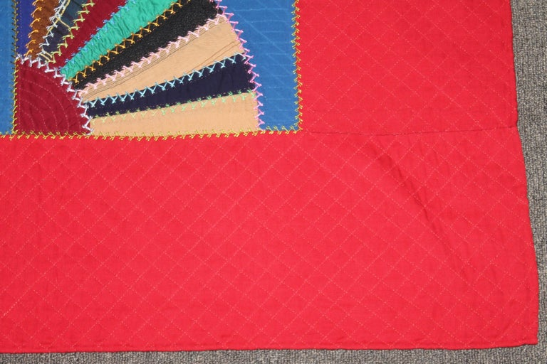 Adirondack 19th C Lancaster County, Pennsylvania Wool Fans Quilt For Sale