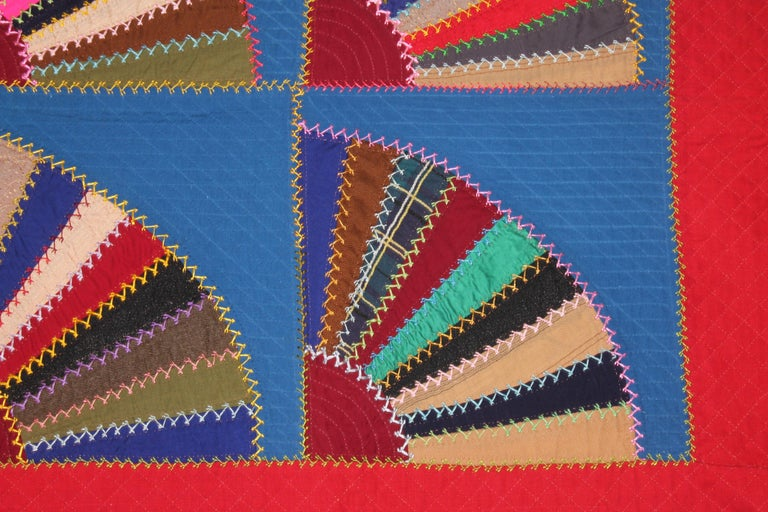 American 19th C Lancaster County, Pennsylvania Wool Fans Quilt For Sale