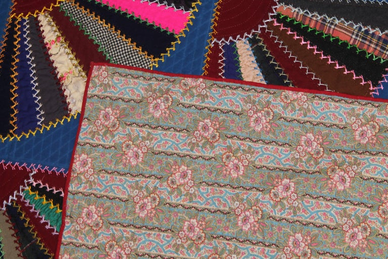 Hand-Crafted 19th C Lancaster County, Pennsylvania Wool Fans Quilt For Sale