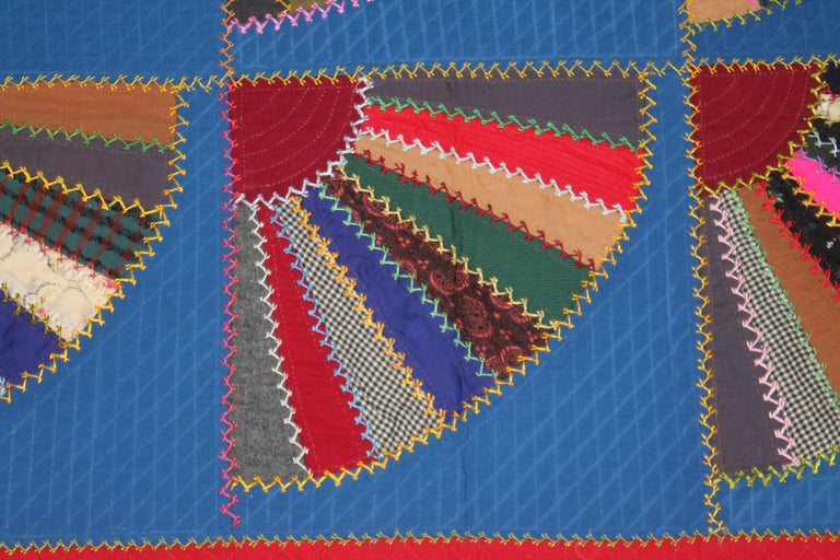19th C Lancaster County, Pennsylvania Wool Fans Quilt In Good Condition For Sale In Los Angeles, CA
