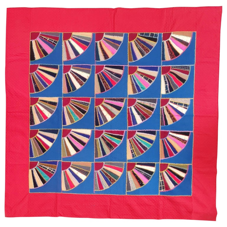 19th C Lancaster County, Pennsylvania Wool Fans Quilt For Sale