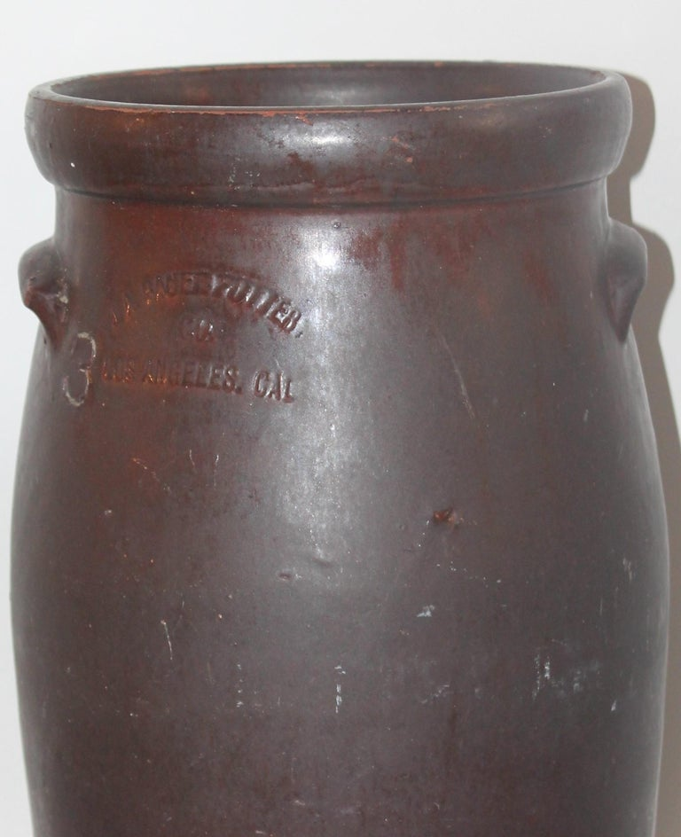 Country 19th Century Large 3 Gal. Crock or Butter Churn Made in  Los Angeles For Sale