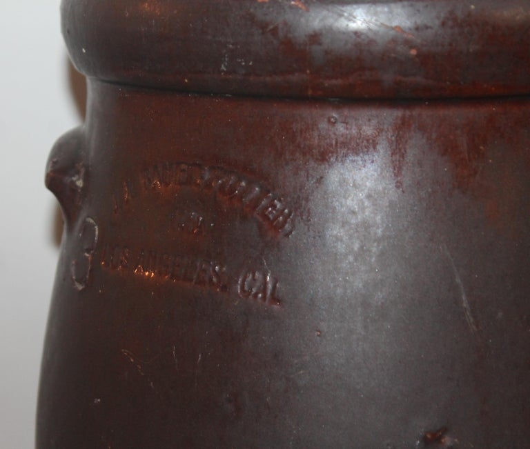 American 19th Century Large 3 Gal. Crock or Butter Churn Made in  Los Angeles For Sale