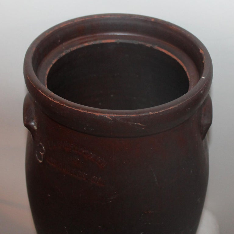 Glazed 19th Century Large 3 Gal. Crock or Butter Churn Made in  Los Angeles For Sale
