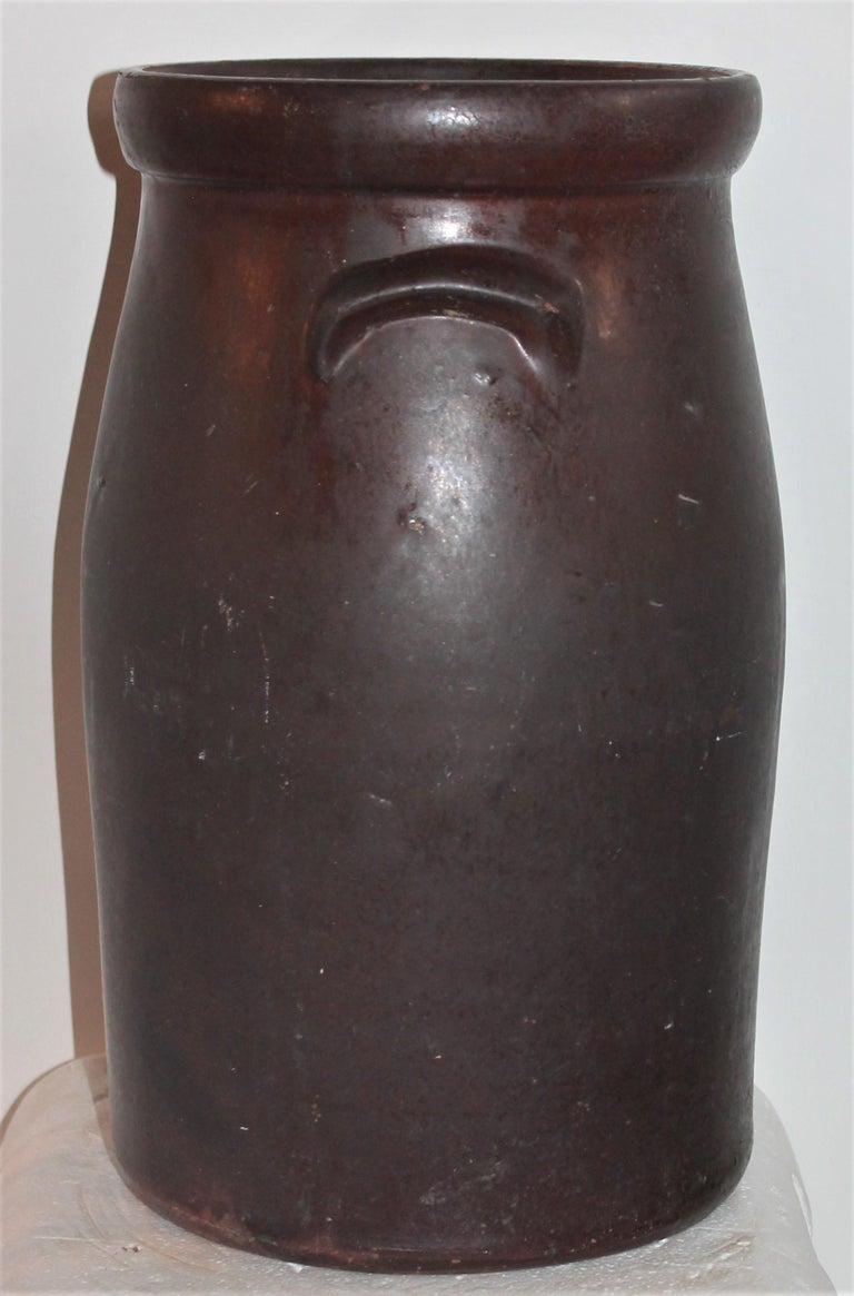 19th Century Large 3 Gal. Crock or Butter Churn Made in  Los Angeles In Good Condition For Sale In Los Angeles, CA