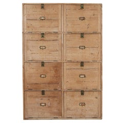 19thC Large English Pine Office Cabinet