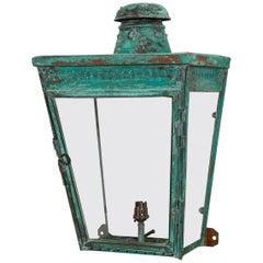 19thC Large English Verdigris Copper Wall Lantern