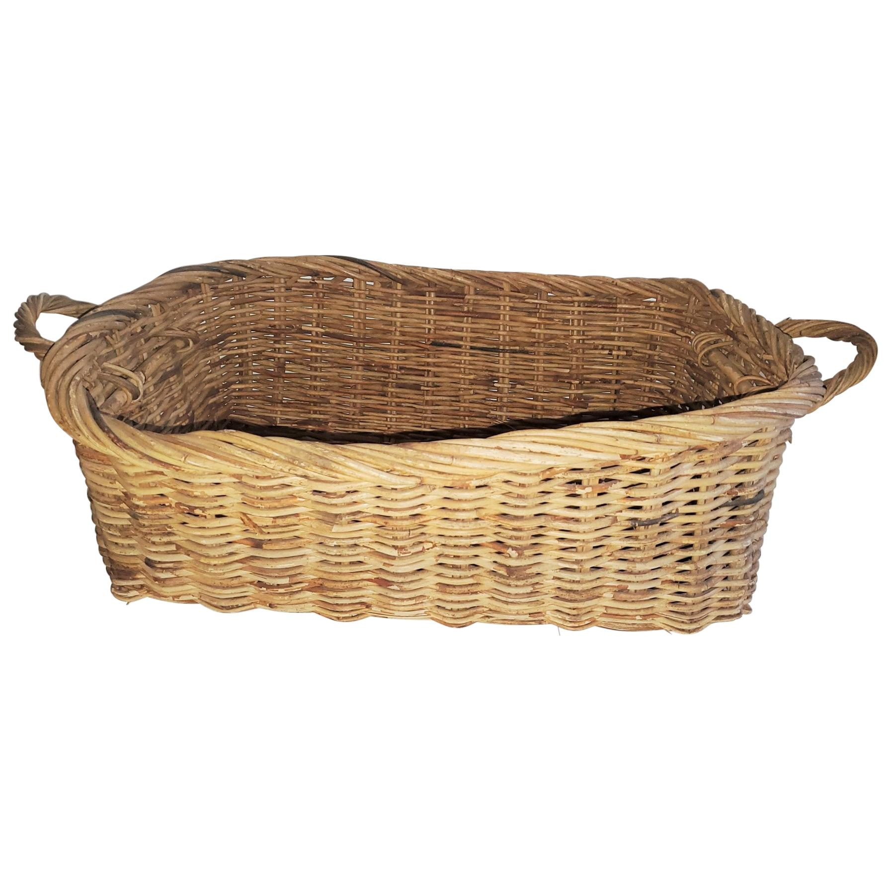 19th Century Large French Bread Basket from a Bakery