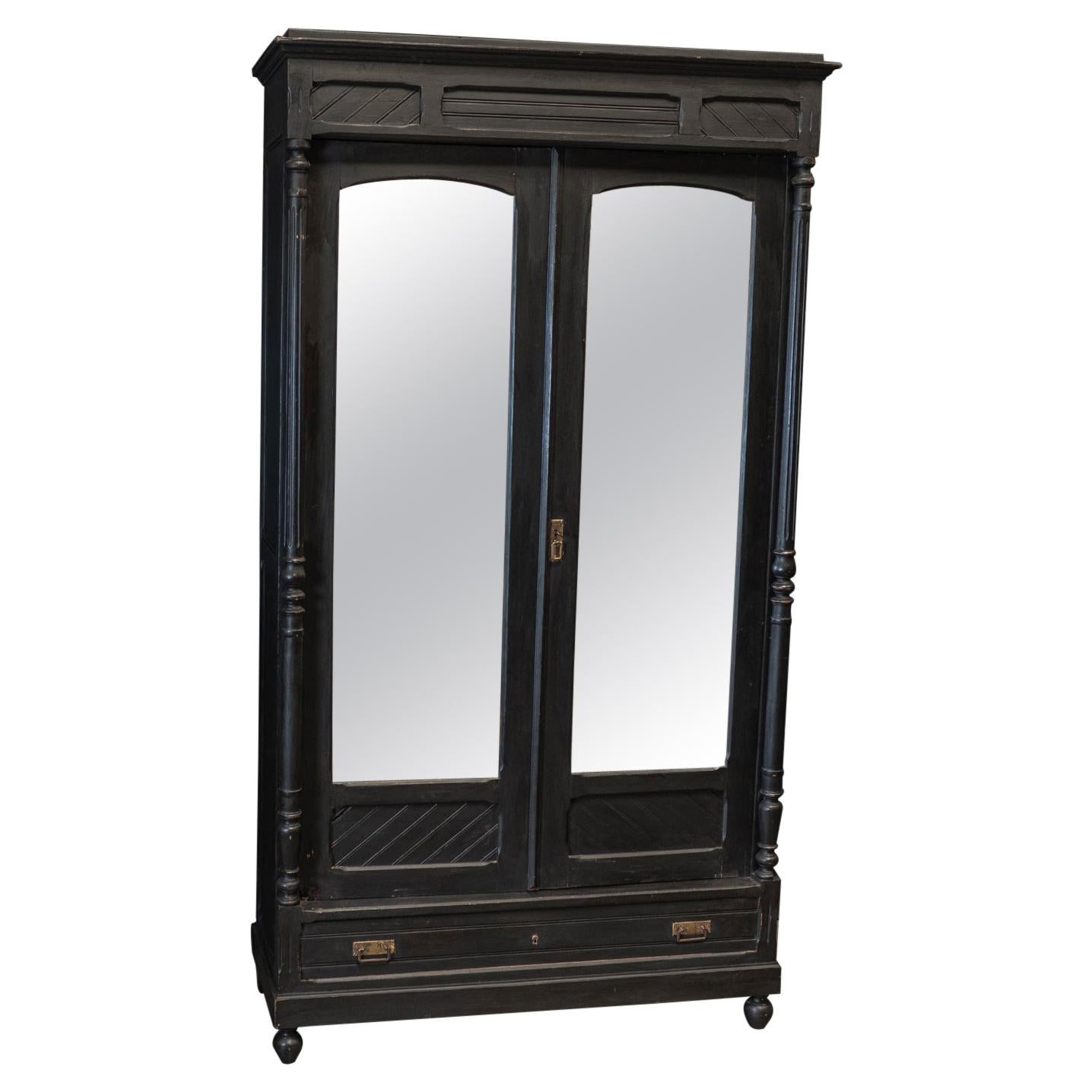 19thC Large French Ebonised Mirrored Armoire