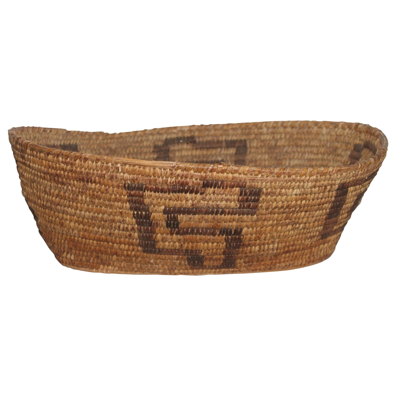 19th Century Large Oval Papago Indian Basket