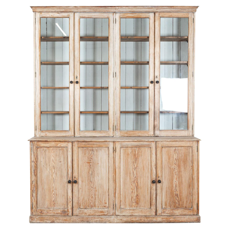19thc Large Pine Bookcase /Cabinet/Vitrine/Dresser
