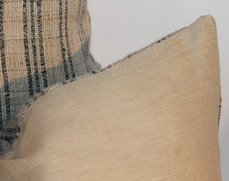 19th Century Linen Ticking Pillows, Pair For Sale 4