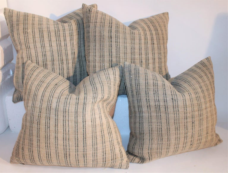 Country 19th Century Linen Ticking Pillows, Pair For Sale