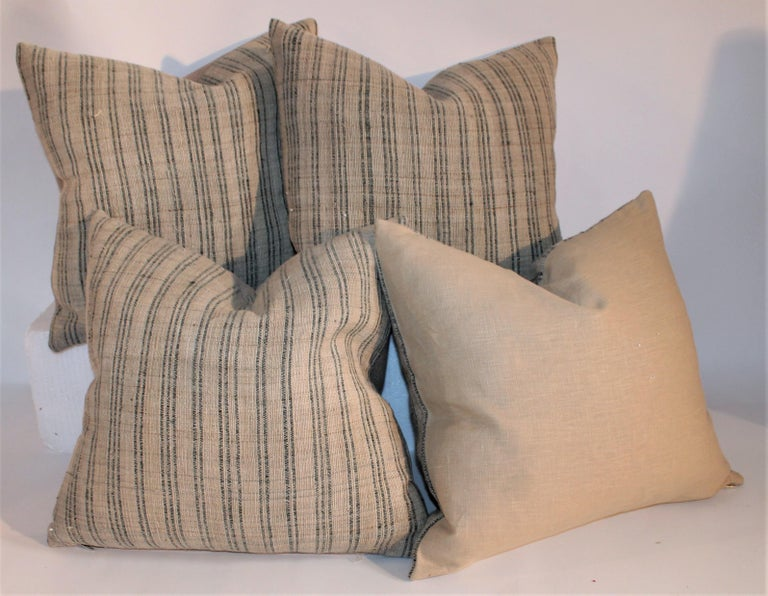 American 19th Century Linen Ticking Pillows, Pair For Sale