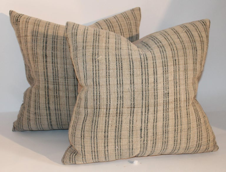 Hand-Crafted 19th Century Linen Ticking Pillows, Pair For Sale