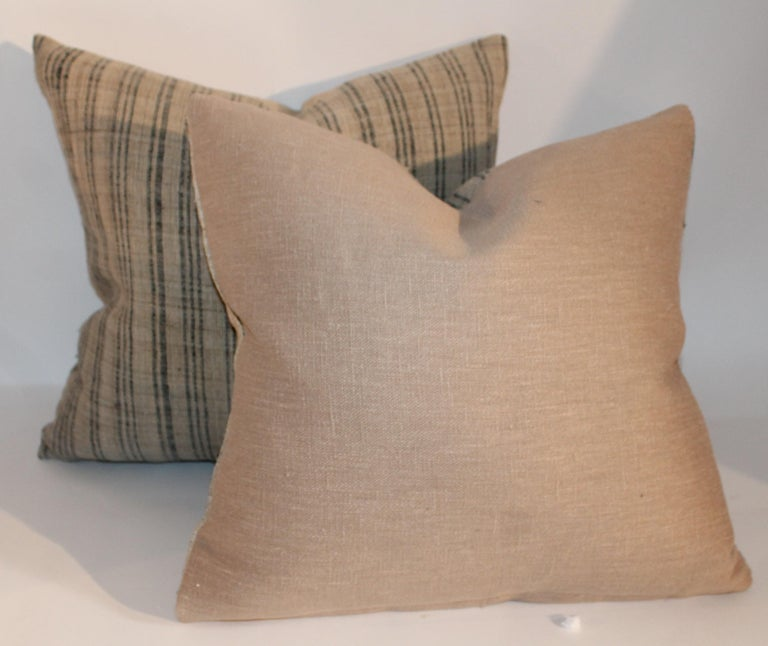 19th Century Linen Ticking Pillows, Pair In Excellent Condition For Sale In Los Angeles, CA
