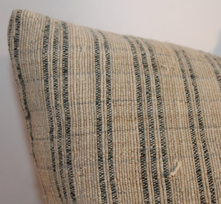 19th Century Linen Ticking Pillows, Pair For Sale 2