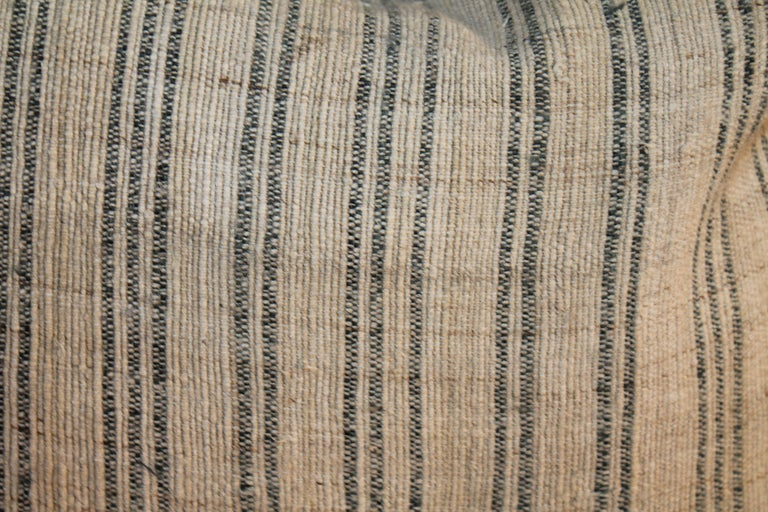 19th Century Linen Ticking Pillows, Pair For Sale 3