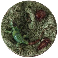 19th Century Mafra Palissy Majolica Lizard Plate